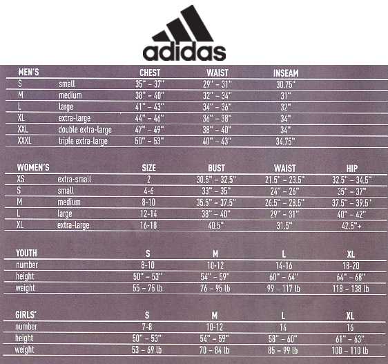 Adidas Youth Shoe Size Chart Cm